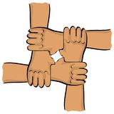 Symbolic teamwork hands Stock Images