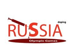 Symbolic text Russia and doping at the Olympic Games Stock Image