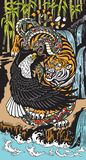 Symbolic tiger eagle and snake in a landscape stock illustration
