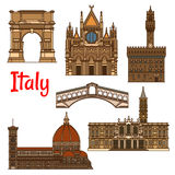 Symbolic travel landmarks of Italy thin line icon Royalty Free Stock Photography