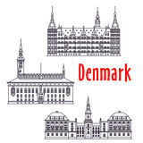 Symbolic travel sights of Denmark thin line icon vector illustration