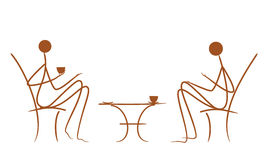 Symbolic vector drawing couples in cafe. On white background Royalty Free Stock Photo
