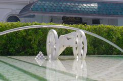 Symbolic white cannon in Georg Town in Penang Malaysia Stock Photos