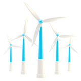 Symbolic wind power stations isolated Royalty Free Stock Photos