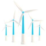 Symbolic wind power stations isolated. Symbolic glossy wind power stations isolated on white Royalty Free Stock Photos