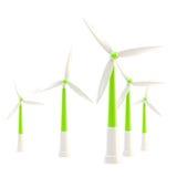 Symbolic wind power stations isolated. Symbolic glossy wind power stations isolated on white Stock Photo
