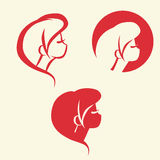 Symbolic woman faces and heads. Logo vector. Set of symbolic women heads. Faces in profile. Logo for hairdresser, cosmetology or spa salon, Vector stock illustration