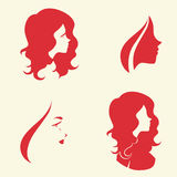 Symbolic woman faces and heads. Set of symbolic women heads. Faces in profile. Signs for hairdresser, cosmetology or spa salon, Vector isolated Stock Photo