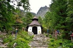 Symbolical kyrkogård under Ostrva i höga Tatra berg, Slovakien Royaltyfria Bilder