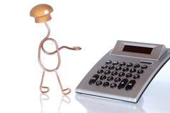 Symboliczny kalkulator i mężczyzna obrazy royalty free