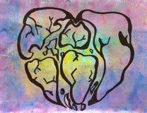 Symboliczny serce świat ilustracja wektor