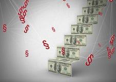 Symbolikonen des Abschnitt-3D mit Geld merkt Schritte Lizenzfreies Stockbild