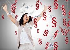 Symbolikonen des Abschnitt-3D mit Geldanmerkungen Lizenzfreies Stockfoto