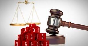 Symbolikonen des Abschnitts 3D und Gerechtigkeitshammer mit Balancenskalen Stockfoto