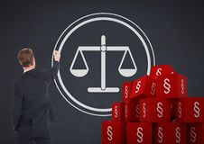 Symbolikonen des Abschnitts 3D und Geschäftsmannzeichnungsgerechtigkeitsbalancenskalen Stockfotografie