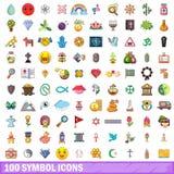 100 Symbolikonen eingestellt, Karikaturart Stockbilder