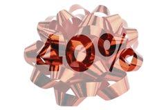 40% symbolisch dargestellt als hervorgehobene Zahl mit Prozentzeichen vor einer Geschenkschleife stockbild