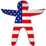 Symbolisch Karakter met de Vlag van de V.S. Stock Afbeeldingen