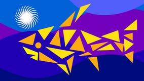 Symbolische abstracte vissen van driehoeken in het overzees tegen een achtergrond van golven stock videobeelden