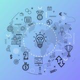 Symbolische Ikonen-Konzepte - Illustration Währung, Roboter, Rad, Innovation, Leuteikonenkonzept lizenzfreie abbildung
