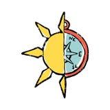 Symbolische illustratie van halve zon, half kompas Stock Afbeelding