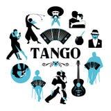 Symbolische silhouetten rond de wereld van Tango Dansers, gauchos, bandoneon, gitaar royalty-vrije illustratie