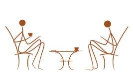 Symbolische vektorzeichnungspaare im Kaffee Lizenzfreies Stockfoto
