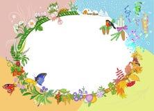 Symbolische vier seizoenenkroon van bloemen. Stock Afbeeldingen