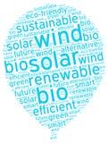 Symbolischer ökologischer Luft-Ballon mit nachhaltigem Energie-Tag lizenzfreies stockbild