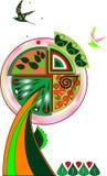 Symbolischer dekorativer Baum Stockbild