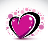 Symbolischer Gegenstand der Liebe und Romantik, dimensionaldekor des purpurroten Herzens Stockfotografie
