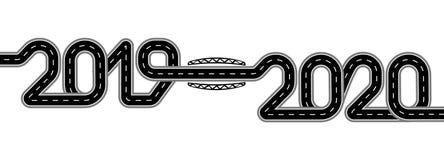2019-2020 Symboliserar övergången till det nya året Vägen med teckning stiliseras som en inskrift isolerat vektor illustrationer