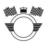 Symbolisez la découpe monochrome de cercle avec la couronne et les drapeaux illustration de vecteur