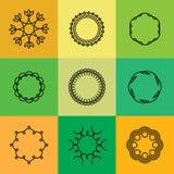 Symbolisez les contours et la ligne vecteur d'insignes réglé - logo abstrait de hippie Photo libre de droits