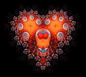 Symbolisk diamant hjärta-formad röd hjärta det Arkivfoto