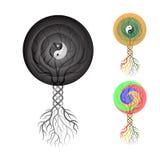 Symbolisk vektorteckning av ett träd av yin och yang Arkivfoton