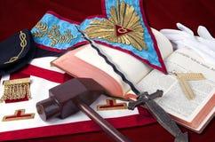 Symboliska objekt för frimureri av Worshipful Maste Arkivfoto