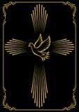 Symboliskt kors och duva Mallemblem för kyrka vektor för designillustrationstjärnor vektor illustrationer