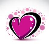 Symboliskt objekt för förälskelse och för romans, dimensionell dekor för purpurfärgad hjärta Fotografering för Bildbyråer