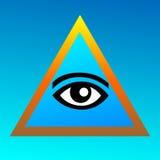 Symbolism av frimureri på en blå bakgrund Öga i det guld- Arkivbild