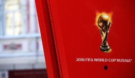 Symbolism the FIFA World Cup 2018 on a red background. Nizhny Novgorod, RUSSIA -  March 07, 2018: Symbolism the FIFA World Cup 2018 on a red background Stock Photography