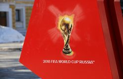 Symbolism the FIFA World Cup 2018 on a red background. Stock Image