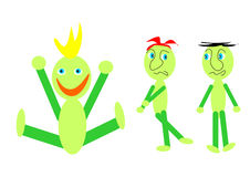 Symbolism laughter and sadness. Three green comic little men symbolise cheerfulness and sadness Stock Image