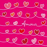 Love message with hearts entwined on pink background vector illustration