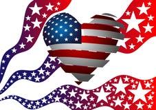 Symbolismen av amerikanska flaggan Hjärta, stjärnor och band Arkivfoton