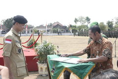 Symbolization Cooperation Between Local Officials and Army Stock Photography