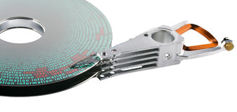 Symbolized data on hard disk parts Stock Photo