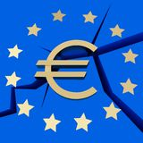 Symbolizes - European Debt Crisis. On a blue Stock Photos