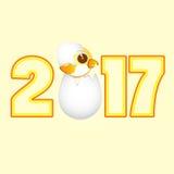 Symbolkalender 2017 des jungen Hahns der Zahl Stockbilder