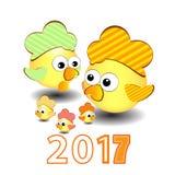 Symbolkalender mit fünf Hahnblumen von 2017 Lizenzfreie Stockfotografie